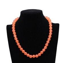 цена Fashion natural stone Tangerine Chalcedony beads8mm 10mm round beads diy necklace elegant gift jewelry 18inch онлайн в 2017 году