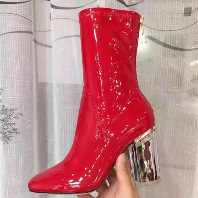 PVC Şeffaf Kadın Ayak Bileği Çizmeler Şeffaf Kalın Topuklu Kısa Bootie Yuvarlak Ayak Arka Fermuar Kış Ayakkabı Kadın Boyutu 34-42