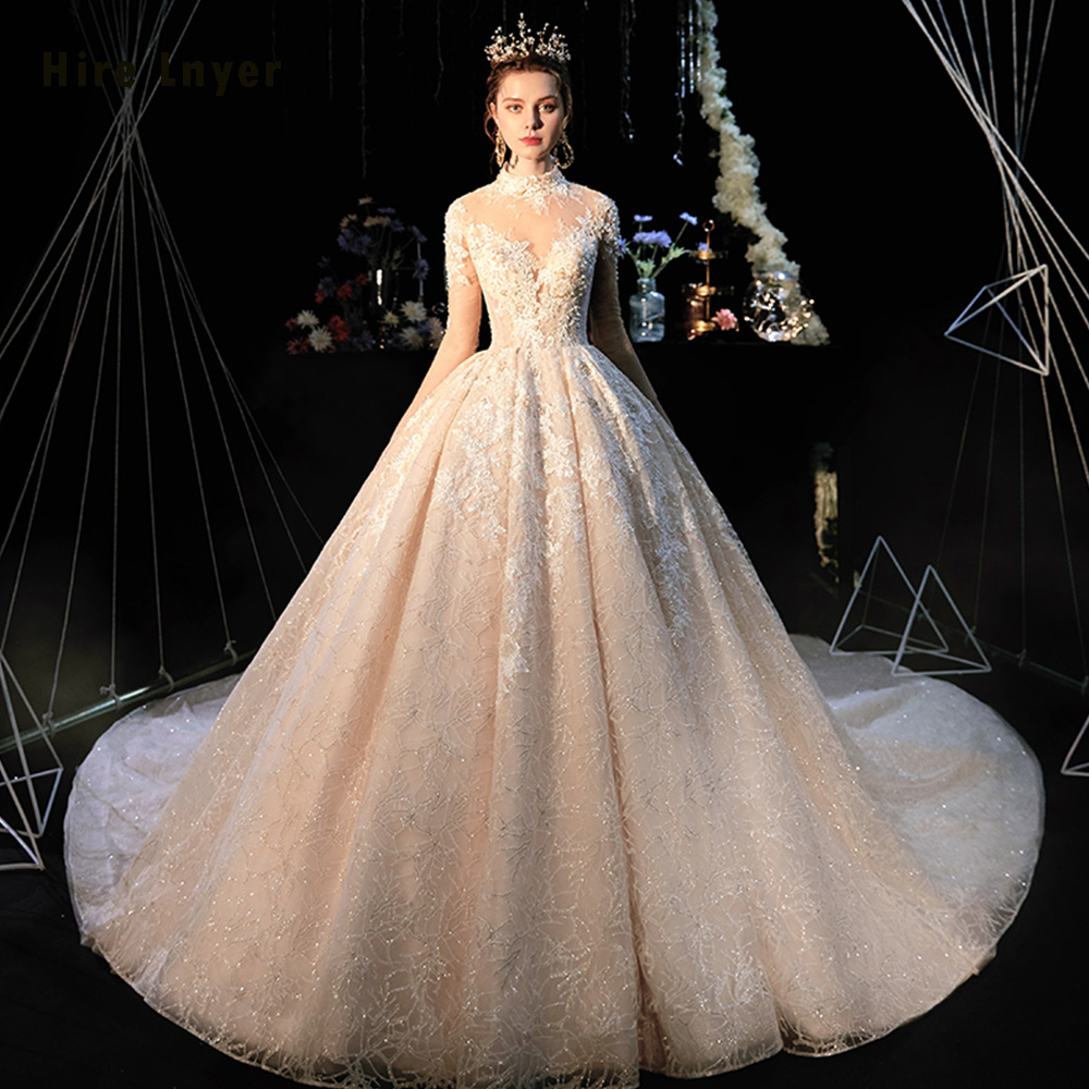 Robe De Mariee Princesse De Luxe 2019 High Neck Full Sleeve Beading Pearls Appliques Lace Luxury Ball Gown Wedding Dresses