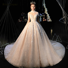 Robe De Mariee Princesse De Luxe 2020 High Neck Full Sleeve Beading Pearls Appliques Lace Luxury Ball Gown Wedding Dresses