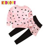 חליפת כותנה תינוקת 2 יחידות KIDLOVE דפוס ארוך חולצת שרוול ארוך לב תלבושת ילדי זיעה צפצף אביב קיץ סתיו ZK30