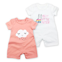 New Style 2pcs/lot Baby Romper Summer Short Sleeve Boy Girl Clothes Set Cotton Printed baby Jumpsuit body suit Clothing