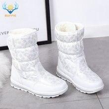 ¡Superventas de 2019! Botas de nieve de invierno para mujer, zapatos de piel sintética abrigado para mujer, botas de moda de marca de amortiguación blanca, suela antideslizante