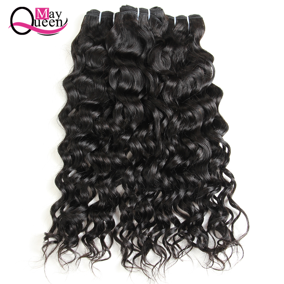 May Queen Hair Indian Bundles With Closure Water Wave 4*4 Free Part Lace Closure Non Remy Human Hair Cuticle Aligned Hair