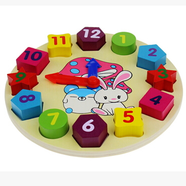 Kids Children Wooden Clock 12 Number Colorful Puzzle Toy Educational Bricks for Baby Learning Present