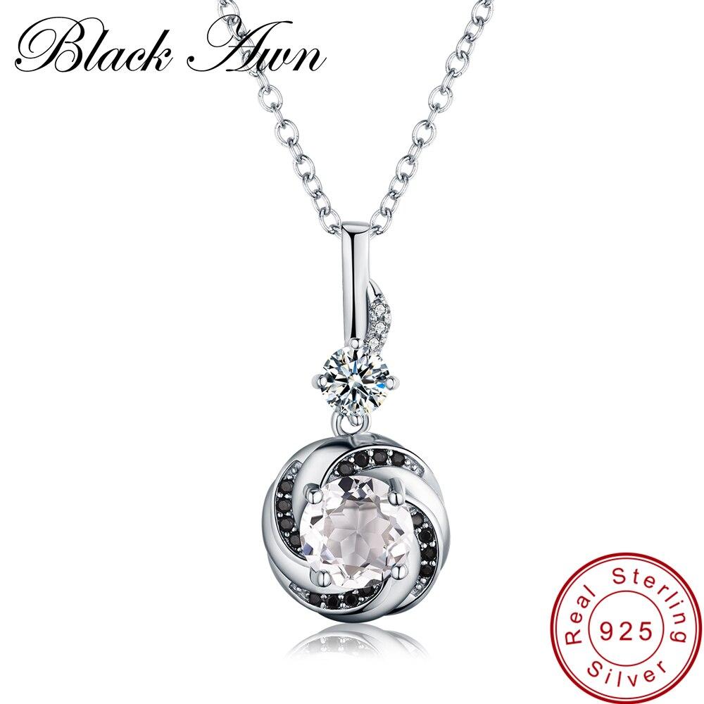 [BLACK AWN] 925 пробы Серебряное ожерелье для женщин классическое круглое ожерелье s Подвески подарок для девочки P159