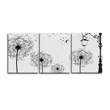 Laeacco Canvas Calligraphy Painting 3 Panel Cartoon Dandelion Flower Posters and Prints Wall Art Pictures Home Living Room Decor