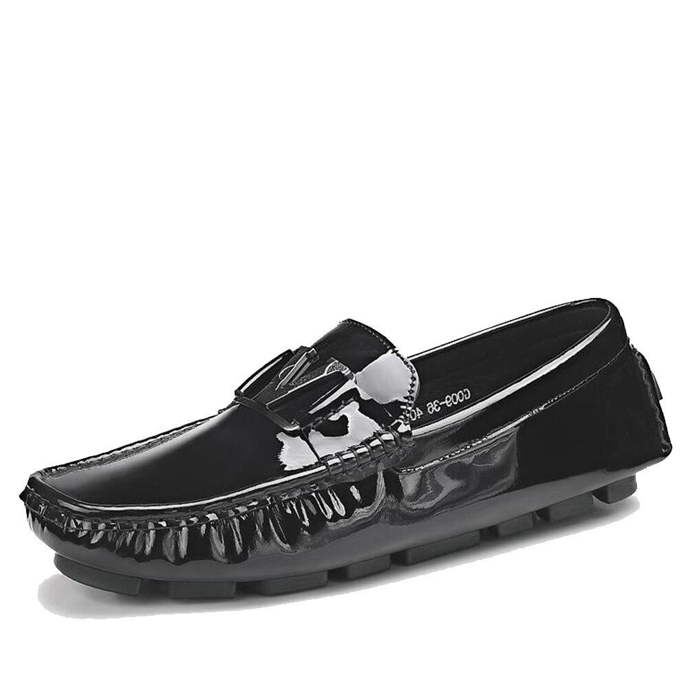 Sipriks S5019 Ocasional C Light Moda Zapatos Cómoda B Europea s5019 Negro Para A Conducción Hombres Plano Charol Fondo Mocasines s5019 rnvrF6q