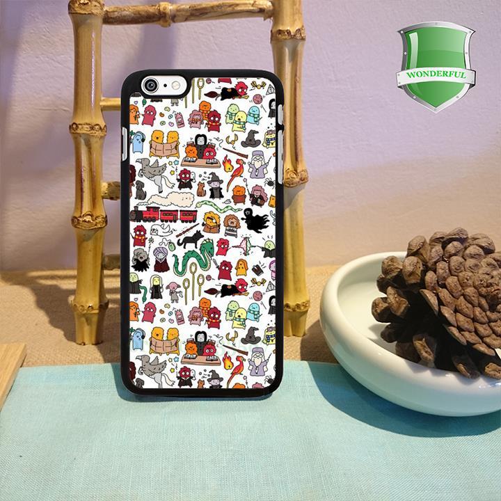 Kawaii Harry Potter Doodle original black cell phone case for iphone 4 4s 5 5s 5c 6 6 plus W-515