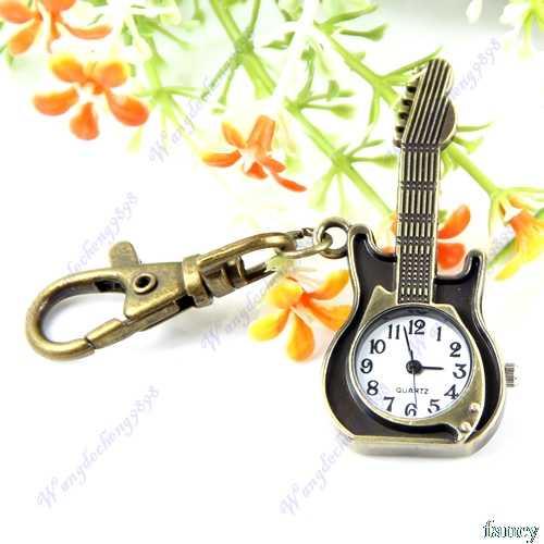 Новый уникальный Ретро кварцевые с гитарой оригинальные карманные часы, брелок, брелок с кольцом для ключей автомобиля брелок для ключей для Для женщин Для мужчин
