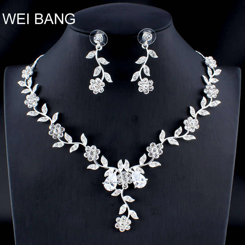 WEIBANG Married Silver Jewelry Set Girlfriend Necklace Long Earrings for Women African Wedding Accessories dropshipping