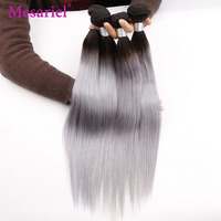 Mesariel Brazilian Hair Weave Bundles 1B/ Grey Straight Human Hair 1/3/4 Bundles Ombre Gray 100% Remy Hair Extension