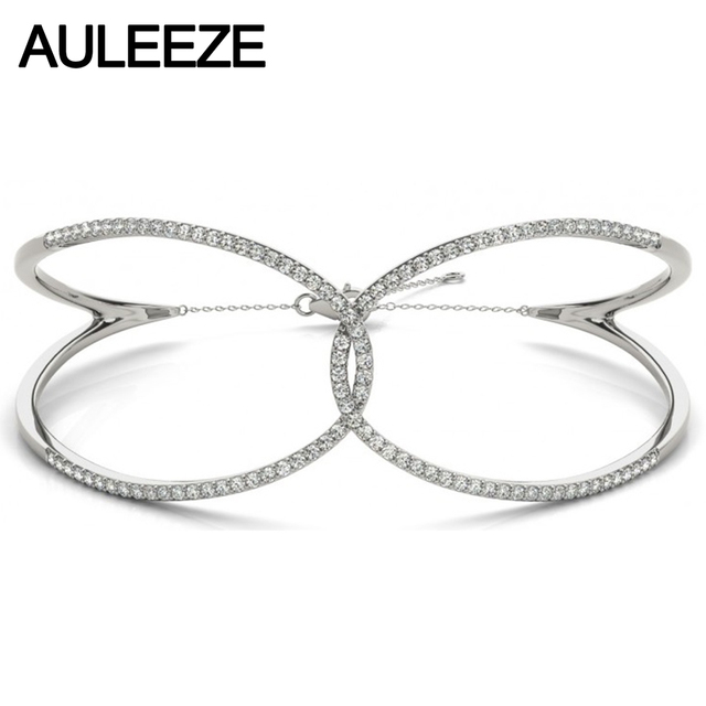 Moissanites Butterfly Bangle 14k White Gold Lab Grown Diamond Fashion Bracelet 585 White Gold Engagement Wedding Fine Jewelry