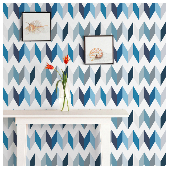 Tuya Art Papier Peint Pour Salon Bleu Geometrie Motif Murale Papier