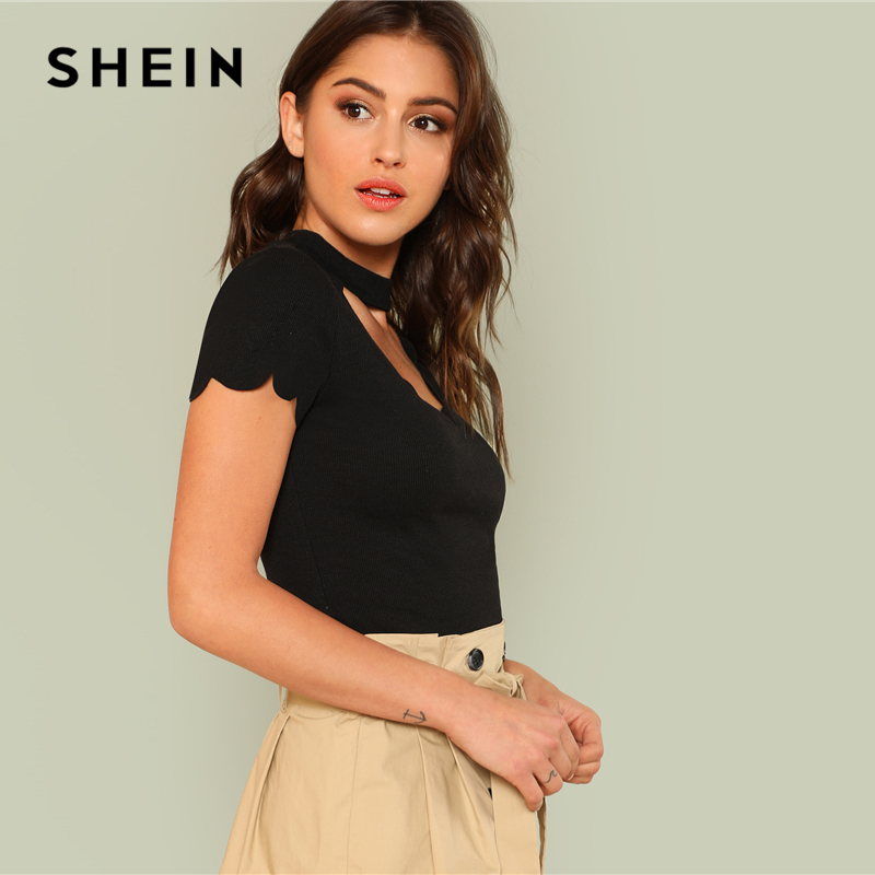 98f74ecbea6 SHEIN Black Elegant Mock Neck Scallop Trim Cut Out V Collar Short Sleeve  Solid Tee Summer Women Weekend Casual T shirt Top-in T-Shirts from Women s  Clothing ...