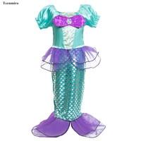 Kids Mermaid Dresses For Girls Long Sleeve Fish Tail Child Princess Dress School Party Costume Halloween