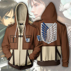 Image 1 - Anime Attack On Titan hoodie Jacket Shingeki no Kyojin Legion Eren Cosplay Costume Sweatshirts Zipper Hoodies