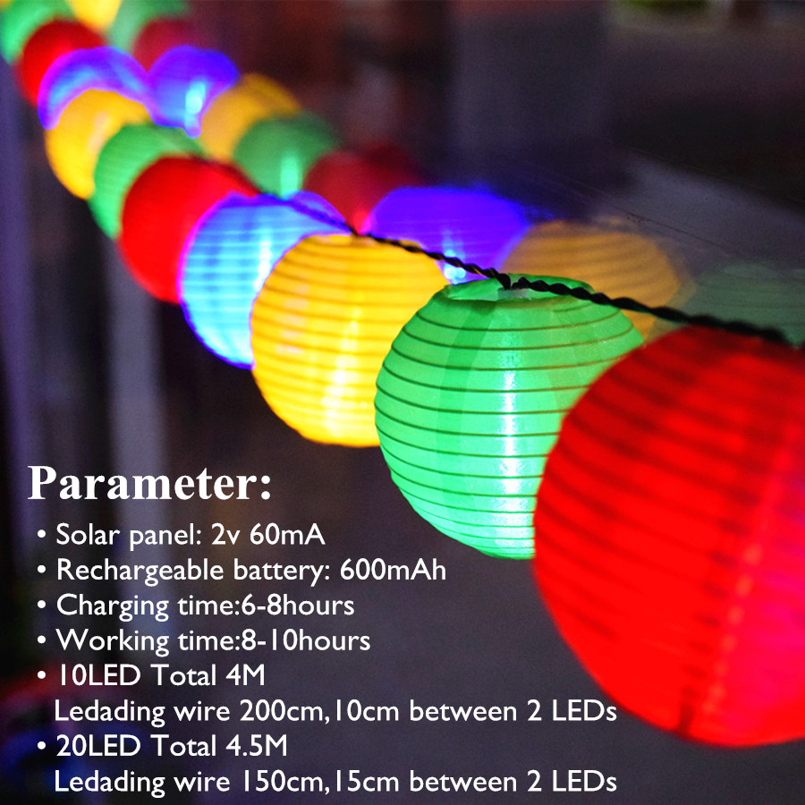 Solar Lamp String Lights Lantern Ball 10/20 LED Solar Garland Utomhus - Utomhusbelysning - Foto 2