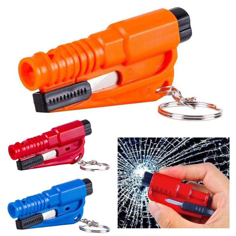 ABS Keychain Practical Mini Pocket Escape Hammer Key Ring Ornaments Camping Tools Glass Window Breaking Multi Purpose