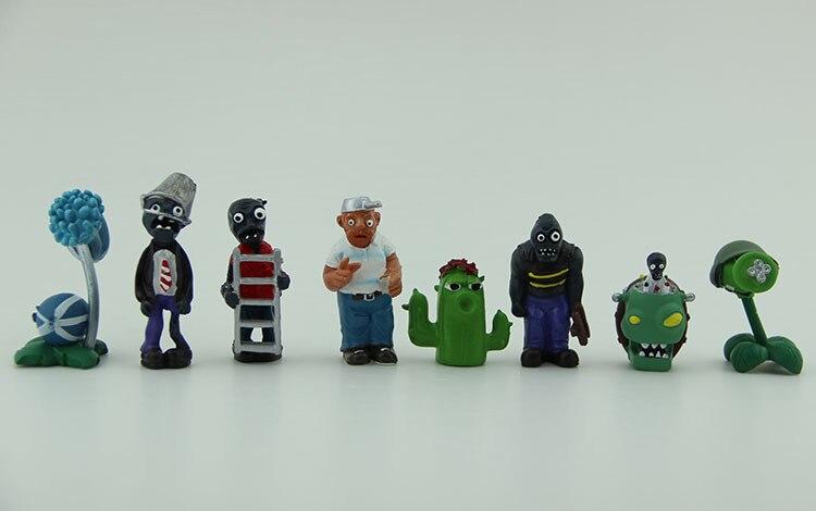ФОТО free shipping pvz 8pcs/set plants vs. zombies toys bucket zombie ladder zombie winter melon pvc action figures