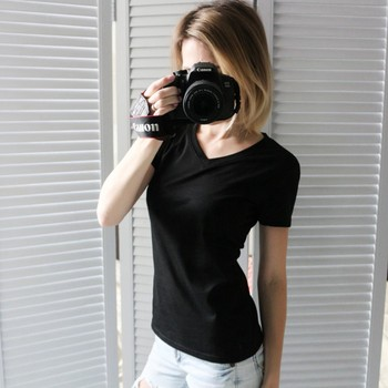 Summer Basic Cotton Women T Shirt Short Sleeve Top Tee Shirts M-3XL Solid Tshirt Female V Neck T-shirt Plus Size Blouses & Shirts