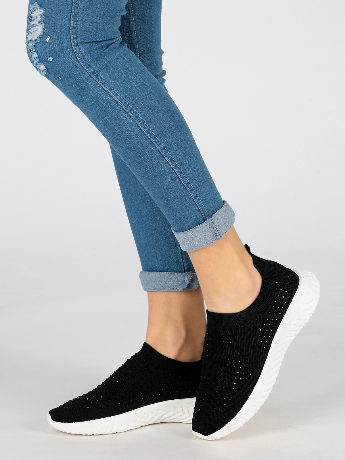 Woman Cosy Sock Shoes Soft Diamond Casual Ventilated Sports Shoes