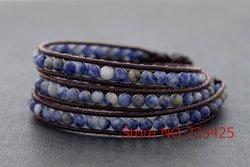 Gainé de cuir Perlé Sodalite Bracelet et bracelets de cheville À La Main tissé en cuir bracelet thai style en laiton cloche fermeture femmes bracelet