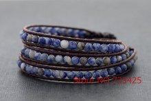 Leather Wrap Beaded Sodalite Bracelet & anklets Handmade woven leather bracelet thai style brass bell closure women bracelet