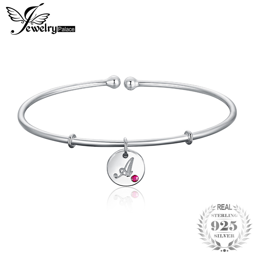 JewelryPalace Personalized Alphabet Initial Letter A 925 Sterling Silver Dangle Charm Cuff Bangle Bracelet For Women 2018 New stylish letter irregular shape cuff bracelet for women