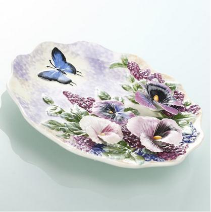 Assiettes décoratives série fleurs | Vaisselle murale décorative en porcelaine, décor de maison vintage artisanat décoration de salle, figurine de décoration - 3