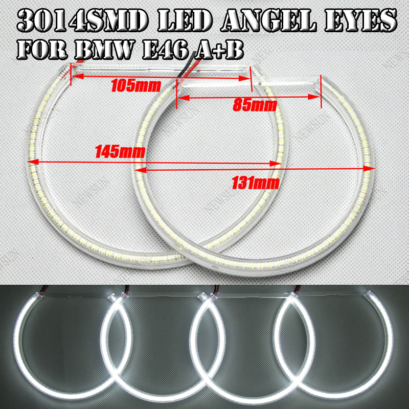 New Car-styling Ultra Bright SMD Led Angel Eyes For Bmw E46 Non-projector 2*131mm+2*145mm Auto Car Headlight Halo Rings Kit universal fit xenon white headlight smd 3014 led angel eyes halo rings kit for bmw honda vw ultra bright car angelic eyes rings