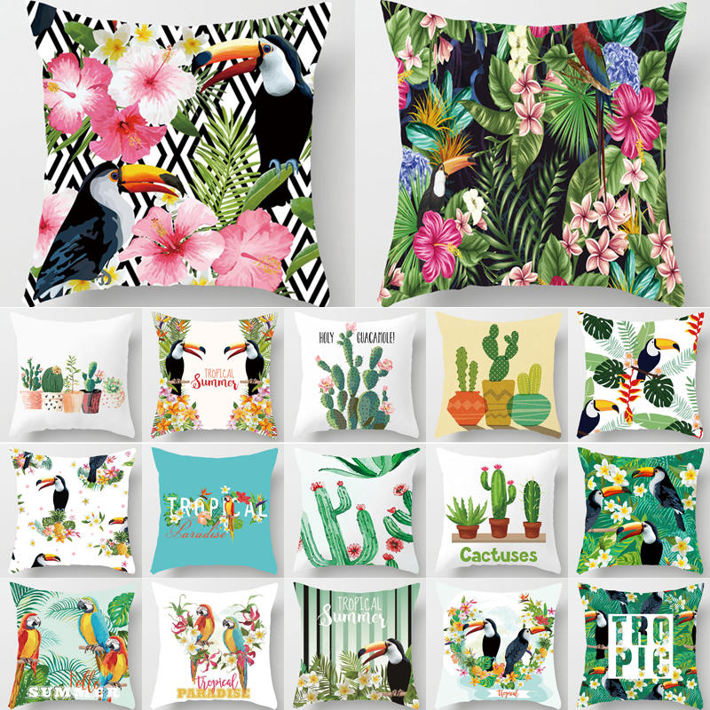 Decor For Home Cactus Pineapple Pillow Cover Tropical Plant Polyester Cushion Cover Decorative Pillows Livong Room Cushion 40549