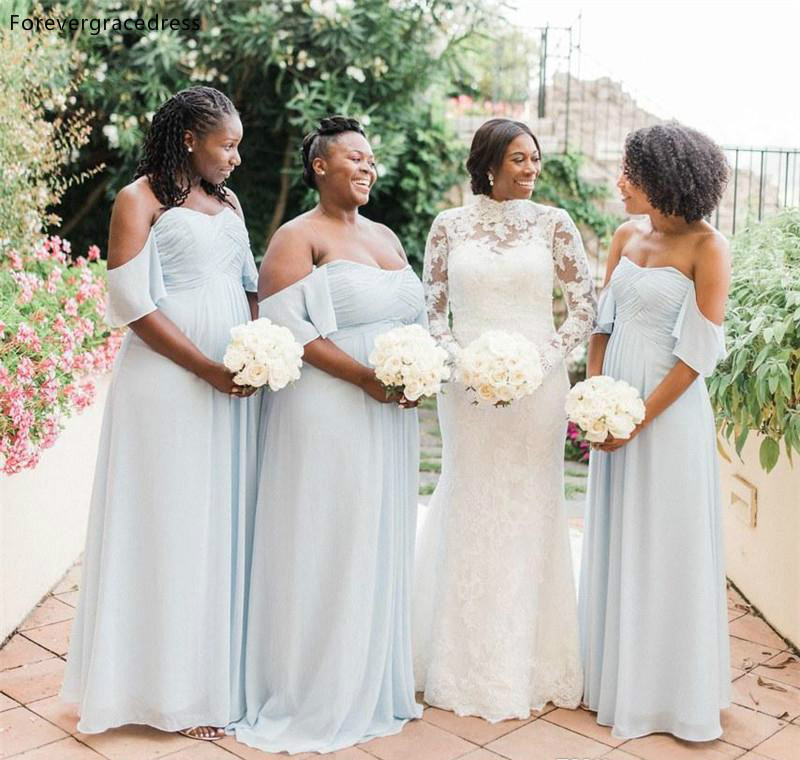Off Shoulder   Bridesmaid     Dresses   2019 Flowy Summer Country Garden Wedding Party Guest Maid of Honor Gowns Plus Size Custom Made
