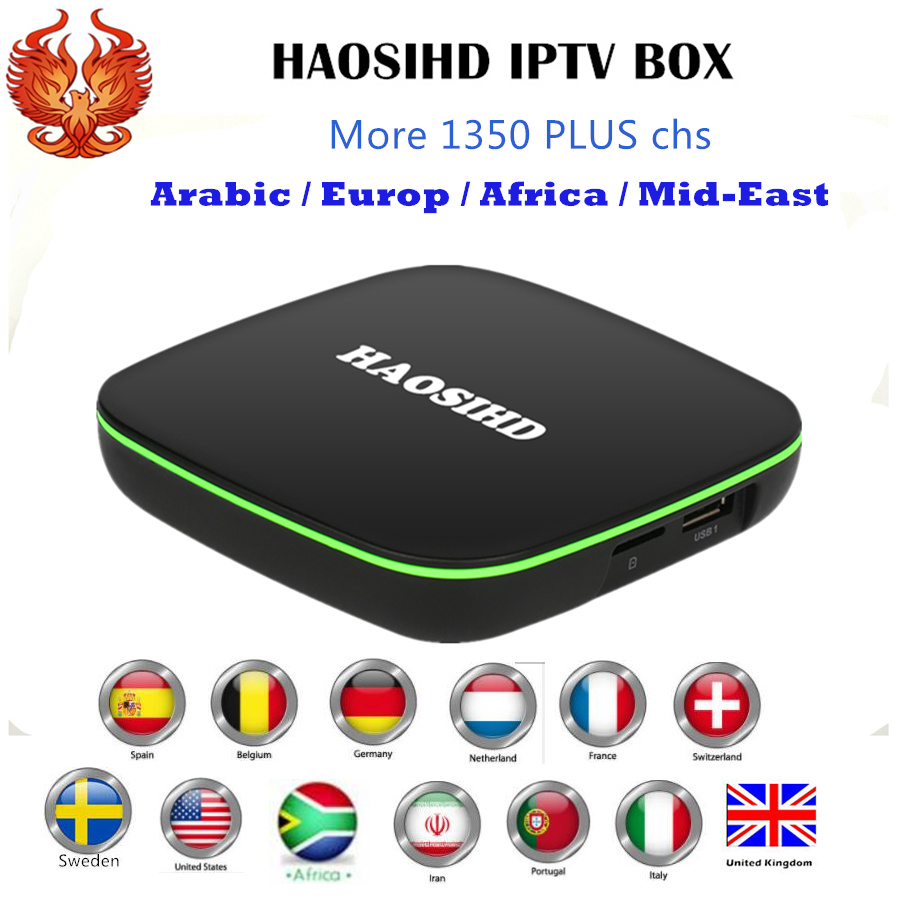 [HAOSIHD] Smart iptv box FireTV A1 with one year subscription free 1350 Arabic Europe Africa America chs good for UK Sweden good qualiy one year guarantee e2e x10f1 z