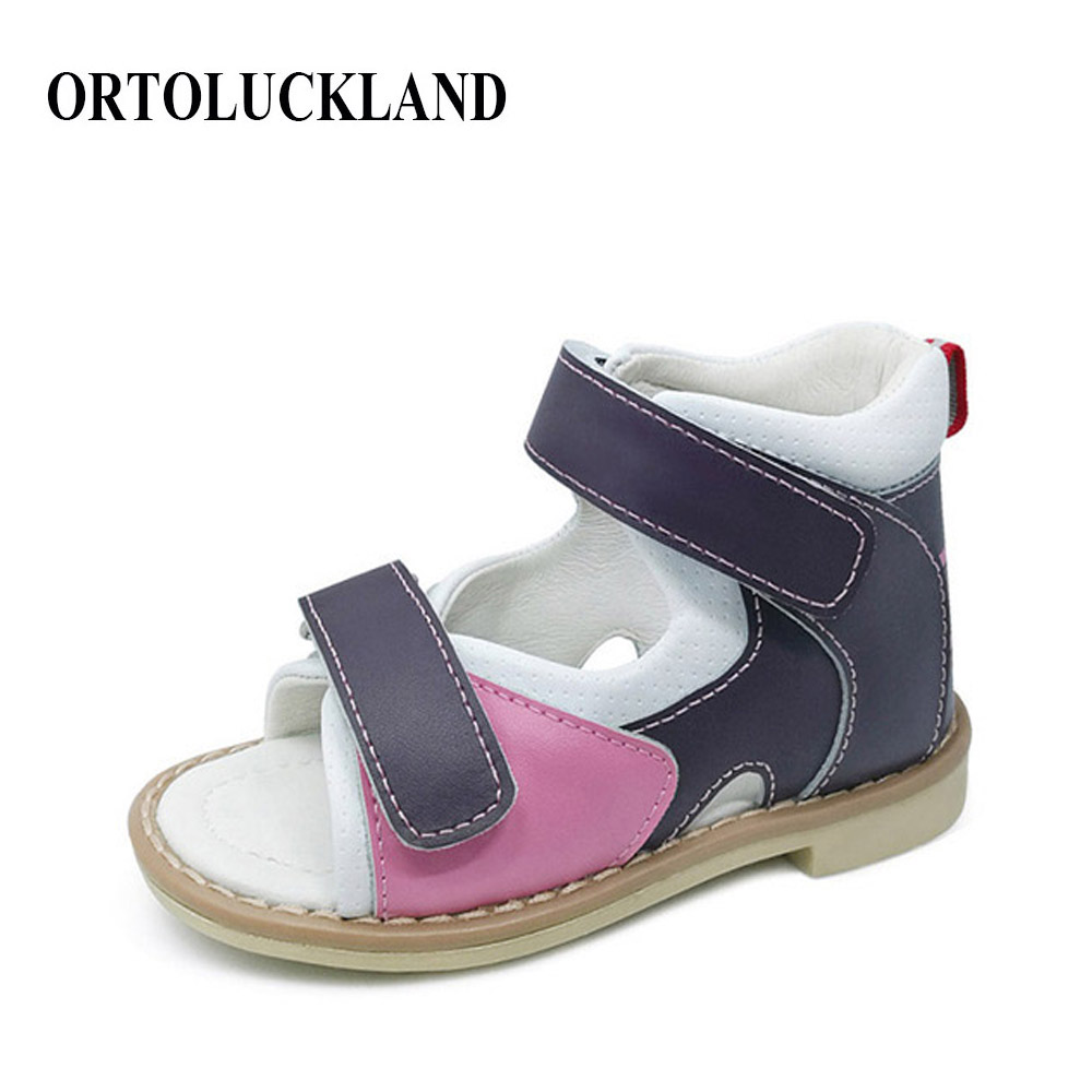 Children Leather Sandals Kids Orthopedic Shoes Arch Support Pad Girls Princess Summer Shoes Chaussure Toddler Sandal Party Shoes