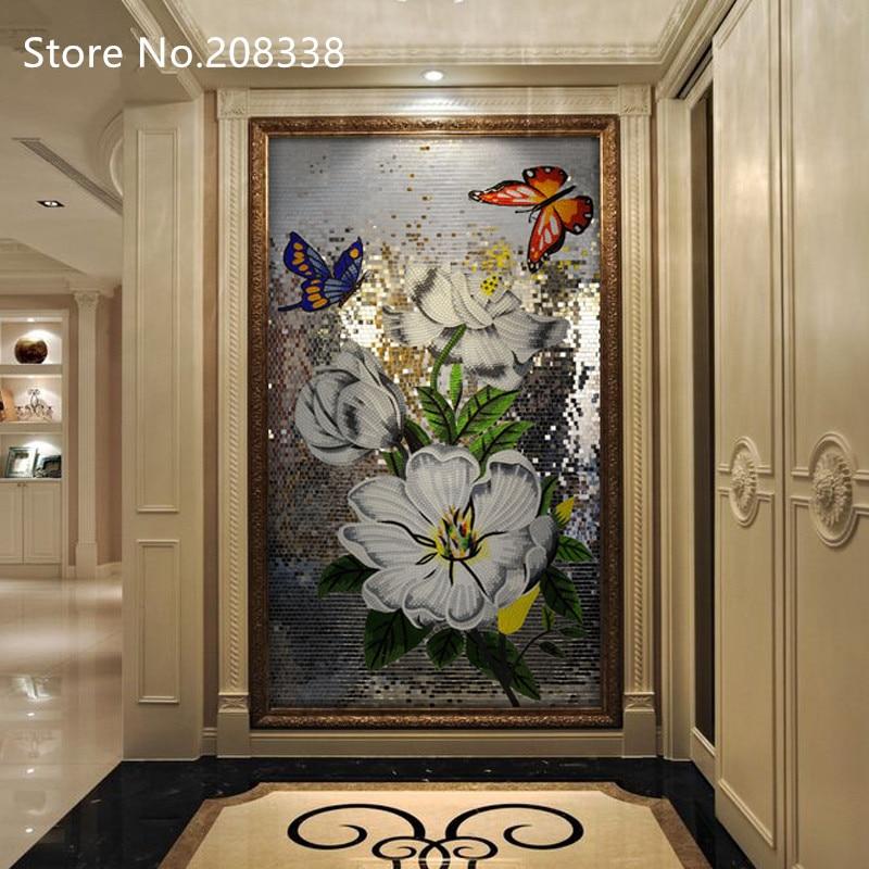 Farfalla danza Piastrella a Mosaico In Vetro Fatto A Mano Wall Art Mural Decor - 2