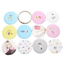 1Pc Mini Makeup Mirror Cute Cartoon Portable Circular Hand Pocket Round Tool