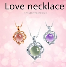 Fashion Silver Plated Crystal Heart Pendant Necklace Women  Clavicle Chain Necklace (No chain) classic silver plated alloy twistedstring chain necklace silver 46cm