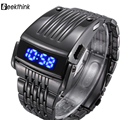 2016 Unique Iron Man's watch Steel Digital LED luxury military Fashion Sport Wrist Watch New Male clock male New