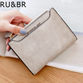 RU&BR New Korean Fashion Style Matte Wallet Retro Minimalist Short Card Holder English Words Female Soild Color Coin Purse