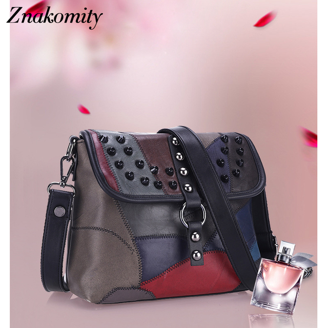 9777a41f303 Znakomity 2019 New Women PU Leather Bags Rivet Patchwork Shoulder Female  Fashion Designer Small Cover Messenger Ladies