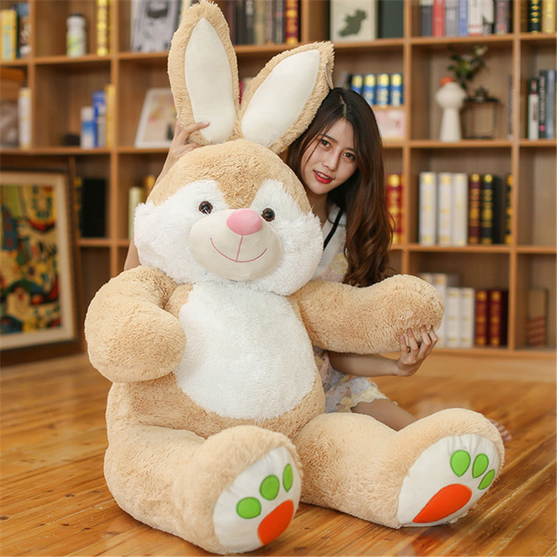 Fancytrader Giant Stuffed Bunny Plush Toys Soft Large Animals Rabbit Doll 150cm 59inch Kids Gifts fancytrader giant soft bunny plush toy big anime stuffed rabbit toys doll pink blue 110cm for children birthday christmas gifts