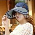 Verano de las mujeres Plegables sombrero para el sol visera tapa sombrero de playa sombrero de ala ancha sombrero de protección UV D-1457