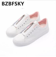 Women White Shoes Female Fashion Cool Leather Sneakers College Students Casual Shoes Lace Up Zippers 2018 New All Match 35 40
