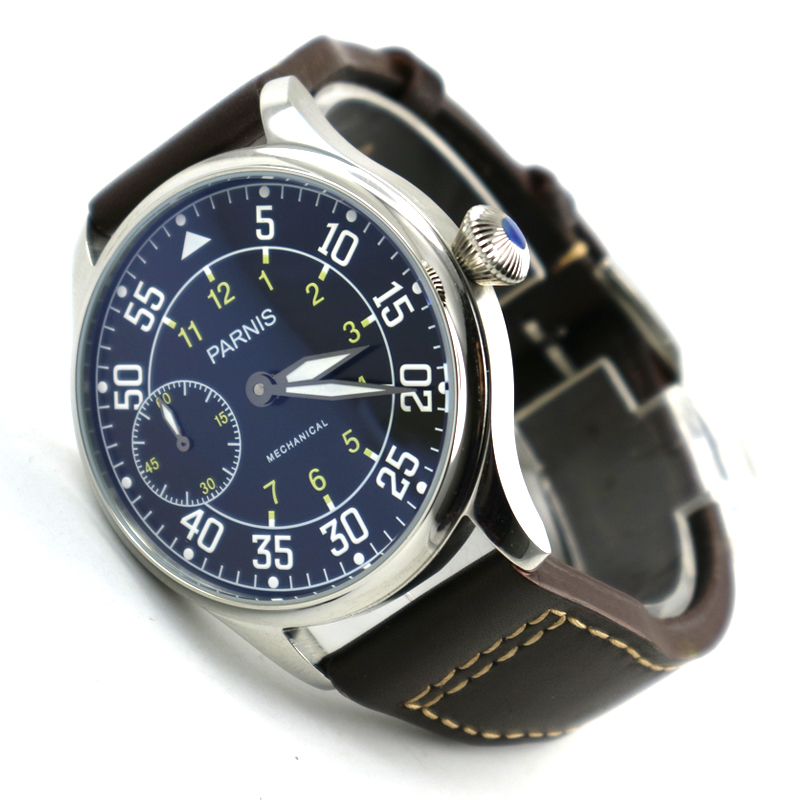 купить 44mm parnis black dial super luminous sea-gull 3600 Stainless Steel Case hand winding 6497 mechanical mens watch по цене 7068.21 рублей