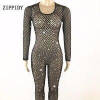Черная сетка полые кристаллы комбинезон сексуальный Одежда для танцев Панорамное боди Для женщин Вечеринка женский костюм певицы Show наряд