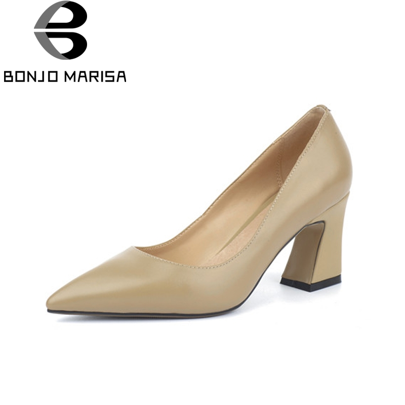 BONJOMARISA Women's Genuine Leather Square High Heels Office Shoes Woman Pointed Toe Slip On Pumps Size 34-39 krazing pot shallow fashion brand shoes genuine leather slip on pointed toe preppy office lady thick high heels women pumps l18