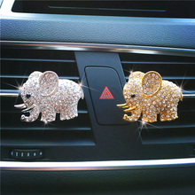 High-grade Diamond Crystal Elephant Car Styling Perfume Clip Lady Air Vent Interior Accessories Freshener Elegant Fragrance
