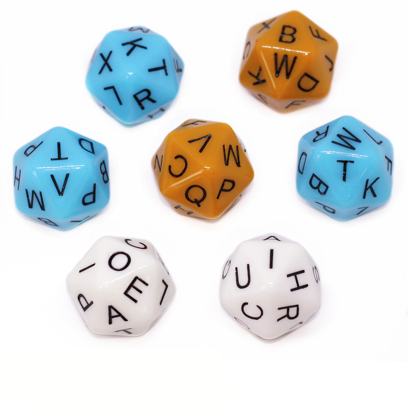 7 Pcs/set 20-sided D20 English Letters Alphabet Dice Board Games Accessories For Children