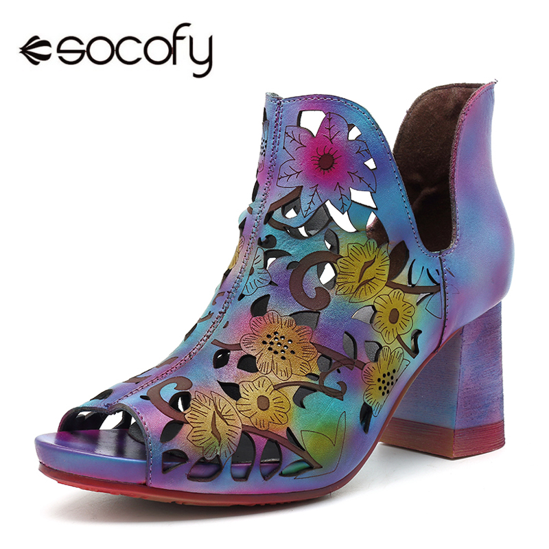 Socofy Hollow out Genuine Leather Shoes Vintage Printed Ankle Sandals Women Shoes Slip on Peep Toe Cover Heels Bohemian Sandals